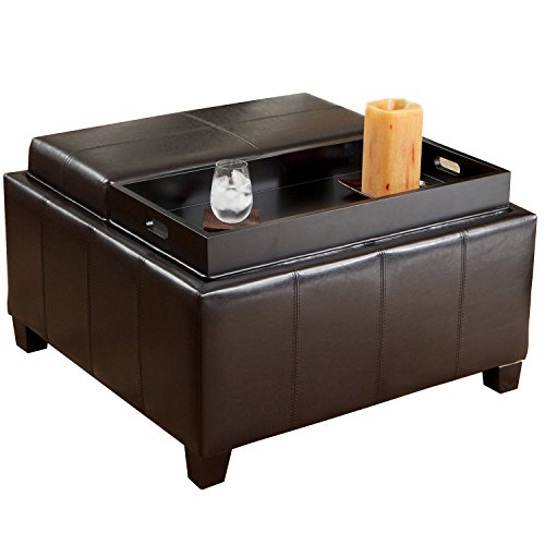 Mansfield Leather Espresso Tray Top Storage Ottoman Two Flip-Over Lids As Serving Trays