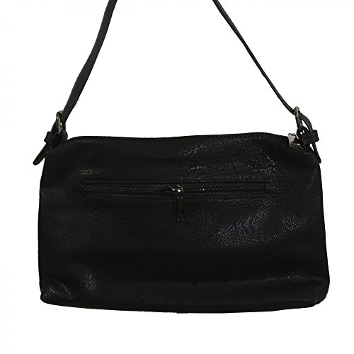 Shopping-et-Mode - Pochette de soirée noire simili-cuir avec bande à paillettes - Noir, Simili-cuir