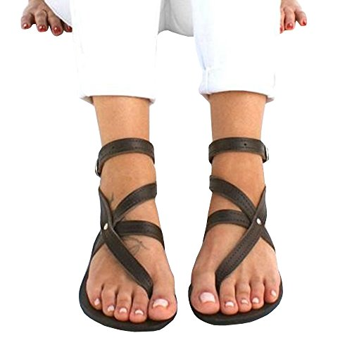 Womens Gladiator Strappy Flat Toe Strap Thong Cross Rivet Buckle Ankle Sandals