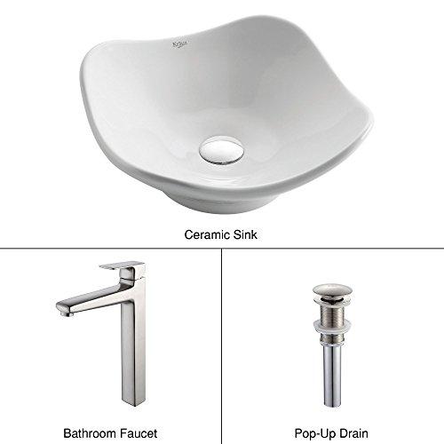 Kraus C-KCV-135-15500BN White Tulip Ceramic Sink and Virtus Faucet Brushed Nickel