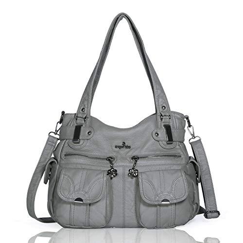 (Angelkiss Women's Designer Handbag Large Double Zipper Multi Pocket Washed, Grey)