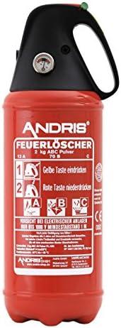 orig. ANDRIS® Feuerlöscher ABC Pulver 2kg, für Auto/LKW, mit KFZ-Drahthalter, handliche Griffhaube mit integrierter Löschdüse, EN3, inkl. ANDRIS® Prüfnachweis mit Jahresmarke & ISO-Symbolschild