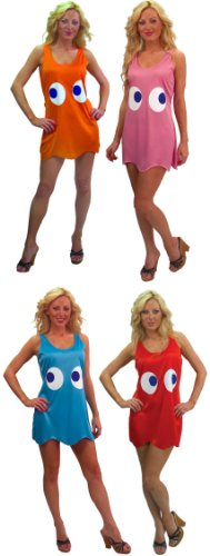 Pac Man Clyde Costume (Pac-Man Deluxe Tank Dress Group Costume Adult/Teen Standard Set Of 4)