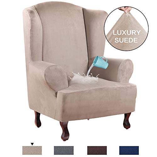 (H.VERSAILTEX 1 Piece Sofa Cover Suede Fabric Furniture Slipcover Stay in Place Velvet Plush Super Rich Wing Back Armchair Slipcovers, Skid Resistance Water Repellent (Wing Chair, Sand))