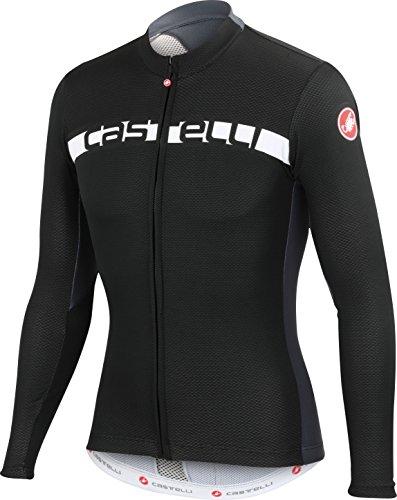 Castelli Prologo 4 Full-Zip Jersey - Long Sleeve - Men's Black/Turbulence/White, L