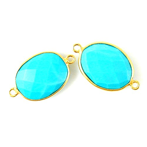 Gemstone Connector - Vermeil - 14x18mm Faceted Oval Link - Turquoise (Sold Per 2 Pieces)