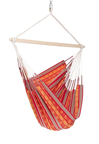Hammock Natural Brazilian (Colombian Hammock Chair - 44 inch - Natural Cotton Cloth (Orange and Red))