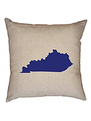 Hollywood Thread Kentucky Blue Democratic - Election Silhouette Decorative Linen Throw Cushion Pillow Case with Insert