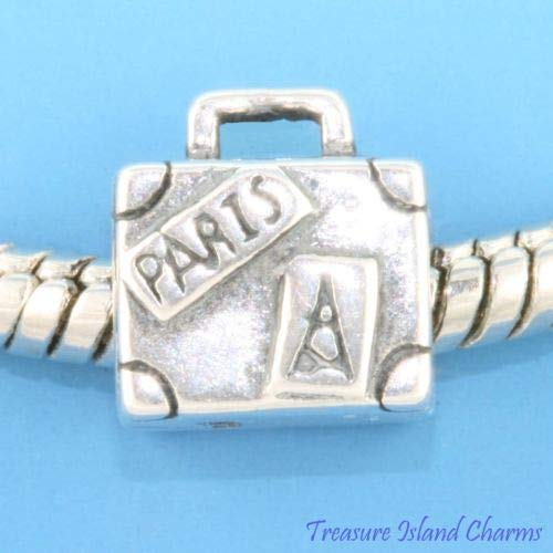 Suitcase Travel Paris London 925 Sterling Silver European Spacer Bead Charm Crafting Key Chain Bracelet Necklace Jewelry Accessories Pendants