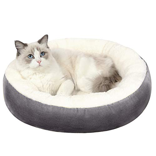 EDUJIN Warming Donut Cushion Cat Bed & Dog Bed, Calming Pup Dog Cat Bed for Small Medium Pet, Non-Slip Bottom, Machine Washable Round Warm Bed for Dogs with Fluffy Comfy Lining Plush Kennel(20″,24″)