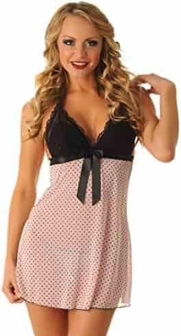 3088ee1b8eb Velvet Kitten Sexy Swiss Polka Dot Halter Babydoll Lingerie Set 3105