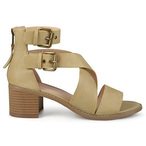 Ankle Strap Faux Wood - Brinley Co. Womens Stacked Wood Heel Faux Leather Double Ankle Strap Sandals Taupe, 10 Regular US