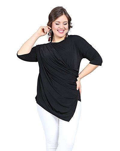 Valeria Fratta - Camisas - Wickelbluse - Básico - para mujer negro