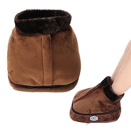 2 IN 1 Unisex Velvet Electric Heated Doot Warmer & Massager Feet Massaging Big Slipper(Brown)