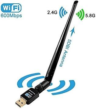 Adaptador WiFi USB, OLLIVAN 600Mbps con Antena 5dbi Receptor WiFi Adaptador inalambrico Dongle WiFi (AC600, WPS, Multi OS) Negro