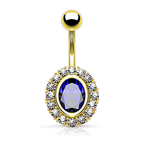 Dynamique Oval Shape Paved CZ Around Large Oval CZ 14Kt Gold Plated Belly Button Ring ()