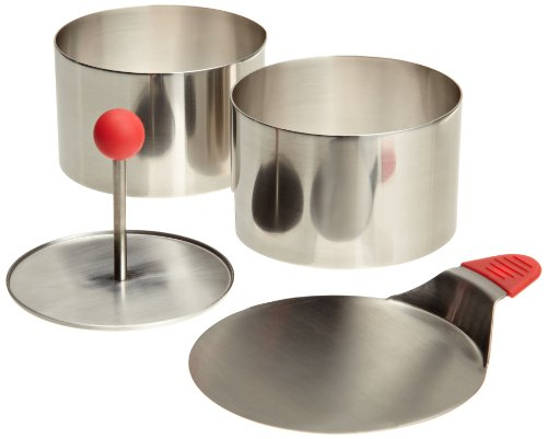 Ateco 4952 Round Food Molding Set, 3.5 by 2.1-Inches High, 4-Piece Set Includes 2 Rings, Fitted Press Transfer Plate