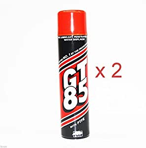 GT85 PTFE Chain Lubricant GT 85 Water Displacer 400ml X 2 Cans by GT85