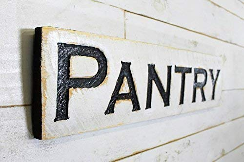 Pantry Sign Horizontal - Carved in a Cypress Board Rustic Distressed Kitchen Farmhouse Style Restaurant Cafe Wooden Wood Wall Art Decoration