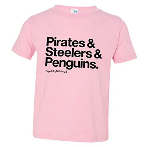 - Toddler Loyal Pirates Steelers Penguins Sports Ball Soft Tee Pink-4