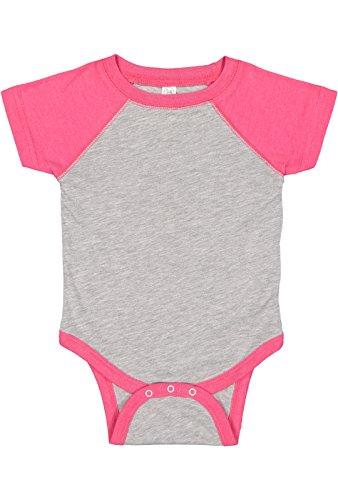 (Rabbit Skins Infant Jersey Raglan Short Sleeve Baseball Bodysuit (Vintage Heather/Vintage Hot Pink, Newborn))