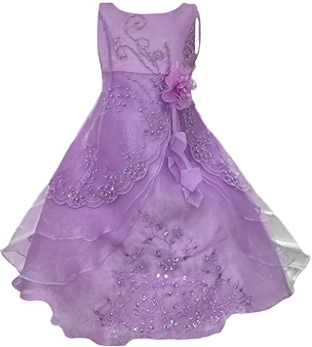 Lilac Flower Girl Dress (Little Girls Embroidered Beaded Flower Girl Birthday Party Dress with Petticoat Lilac)