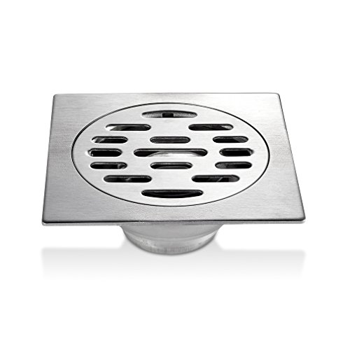 FChome 4 Inch Bathroom Shower Floor Drain,SUS 304 Stainless Steel Kitchen Square Shower Drain Strainer with Removable Cover,Brushed
