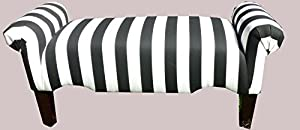 Black And White Striped Rolled Arm Bedroom Living Room Bench