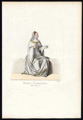 Fourteenth-century Italy Costumes (Antique Print-FLORENCE-ITALY-COSTUME-14TH CENTURY-PLATE 28-Bonnard-Mercuri-1860)