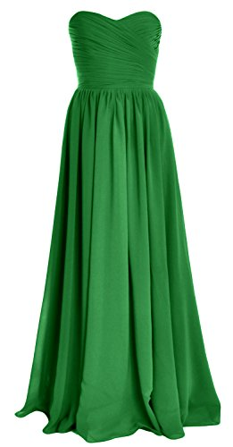 MACloth Women Strapless Chiffon Long Bridesmaid Dress Wedding Party Evening Gown Verde