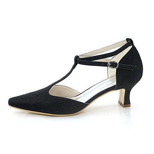 YC mujer de satén noche L Vestidos Rhinestone de blanco verano boda boda para Zapatos y primavera wdRqR7X