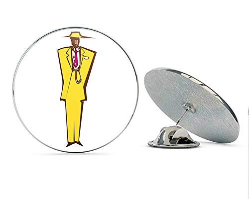 BRK Studio Cool Retro Vintage Abstract Man in Zoot Suit Cartoon Round Metal 0.75
