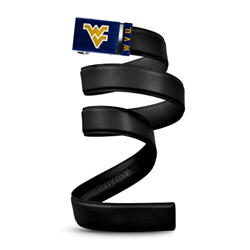 NCAA West Virginia Mountaineers Mission Belt, Black Leather, Custom (up to 56) (Leather Mountaineers Black)
