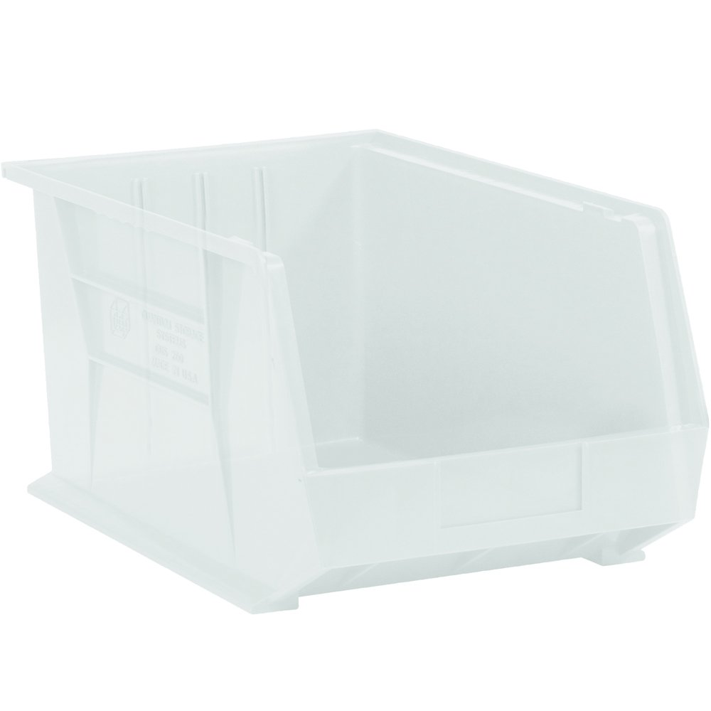 Aviditi BINP0543CL Plastic Stack and Hang Bin Boxes, 5 3/8'' x 4 1/8'' x 3'', Clear (Pack of 24)