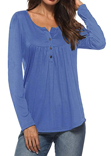 RJXDLT Women's Henley Shirt Casual Long Sleeve Ruffle Button up Tunic Tops...