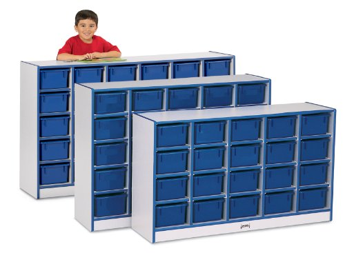 Rainbow Accents 0426JCWW003 25 Cubbie-Tray Mobile Storage with Trays, Blue ()