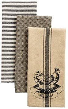 Chicken and Eggs Organic Cotton Set of 3 Kitchen Dish Towels (Black And White Rooster Decor)