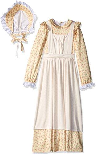 California Costumes American, Pioneer, 19th Century, Oregon Trail, Little House Prairie Girls Costume, Yellow, (Girls Western Costumes)