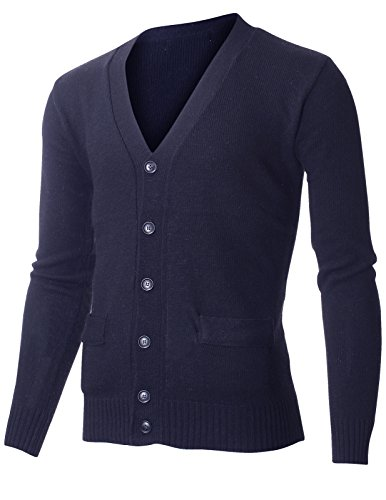 (FLATSEVEN Mens Classic V-Neck Long Sleeve Lambswool Blend Sweater Cardigan (C400) Navy, US M/Asia L)