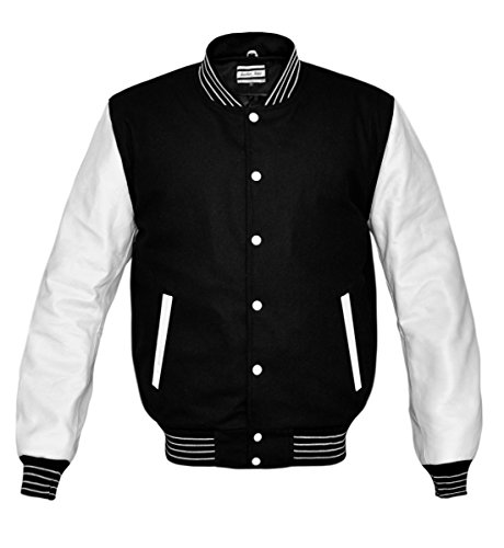 luvsecretlingerie Superb Genuine White Leather Sleeve Letterman College Varsity Kid Wool Jackets