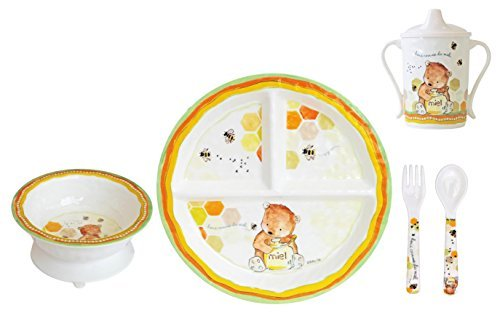 Baby Cie Melamine Plate, Sippy Cup, Bowl, Fork & Spoon, 5 piece set - Sweet As Honey