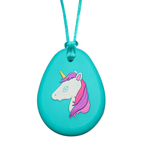 Sensory Oral Motor Aide Chewelry Necklace - Chewy Fidget Toy – Unicorn (Aqua) by Munchables Chewelry