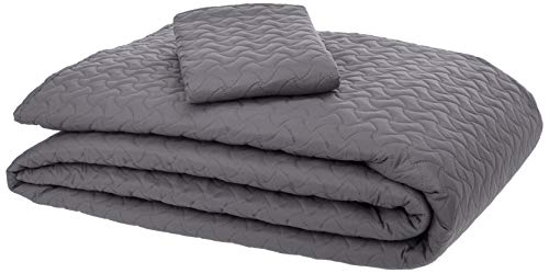 AmazonBasics Oversized Quilt Coverlet Bed Set - Twin, Dark Grey Wave (Quilt Gray Twin)