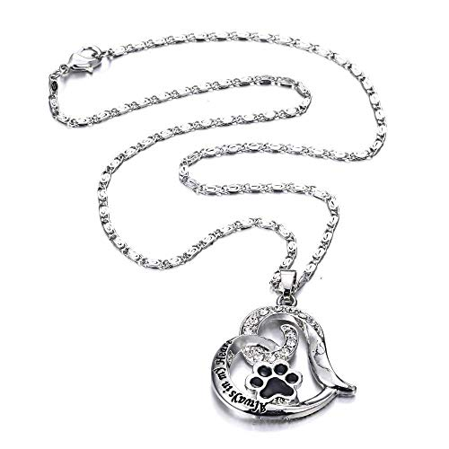 Mothers Day Necklace Forever Pet Dog Paw Necklace Hollow Love Trail Pendant ()