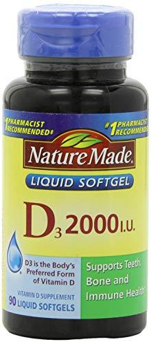 Nature Made Vitamin D3 2000 IU (50 mcg) Softgels, 90 Ct