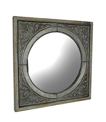 Time Concept Wood Framed Embossed Metal Art Medallion Panel with Round Mirror Wall Hanging (Framed Mirrors Rustic Metal)