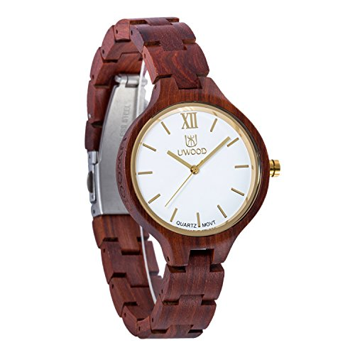 Women Wooden Watch,BIOSTON Handmade Vintage 34mm Analog Quartz Watches,Natural Wood Wrist Watch Girls (UW1003Red)