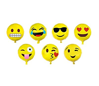 Emoji Balloon Happy Birthday Party - Set of 7 Pack Mylar Foil 18 Inch Helium Reusable Ballons For Congratulation Decoration Anniversary Festival Graduation Bouquet Gift Idea Engagement Celebration