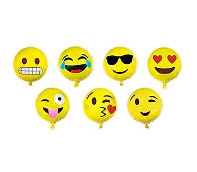 Emoji Balloon Happy Birthday Party - Set of 7 Pack Mylar Foil 18 Inch Helium Reusable Ballons For Congratulation Decoration Anniversary Festival Graduation Bouquet Gift Idea Engagement Celebration