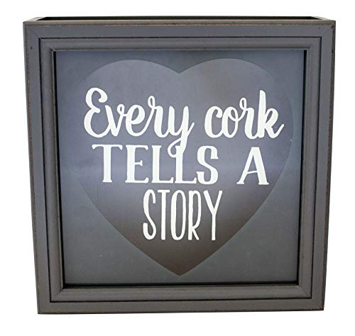 Shadowbox Wine Cork Holder Every Cork Tells A Story 10-Inch Gray (Cork Wine Frame Holder)
